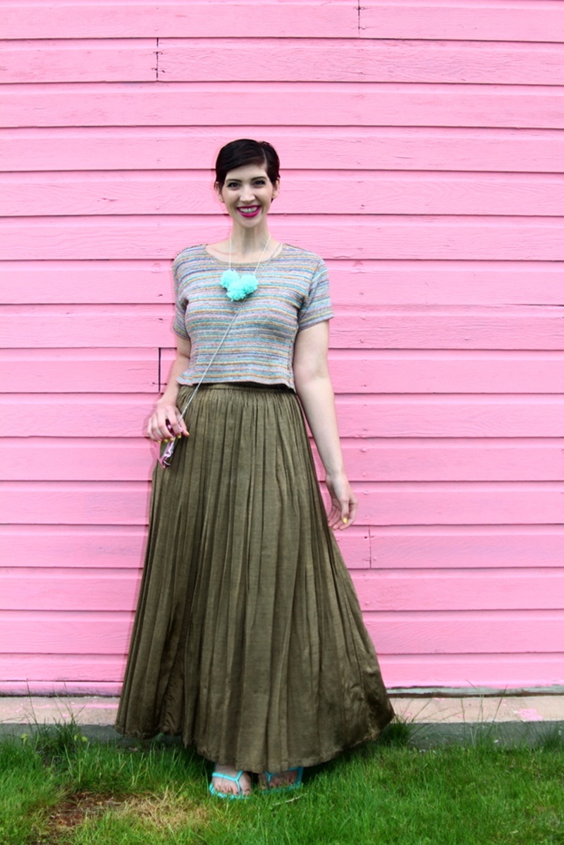 pink wall house garage, outfit rainbow crop top, bronze vintage maxi skirt, walmart flip flops aqua teal, diy pom pom necklace, colourpop heart on lippie stix, diy clutch purse makeup bag