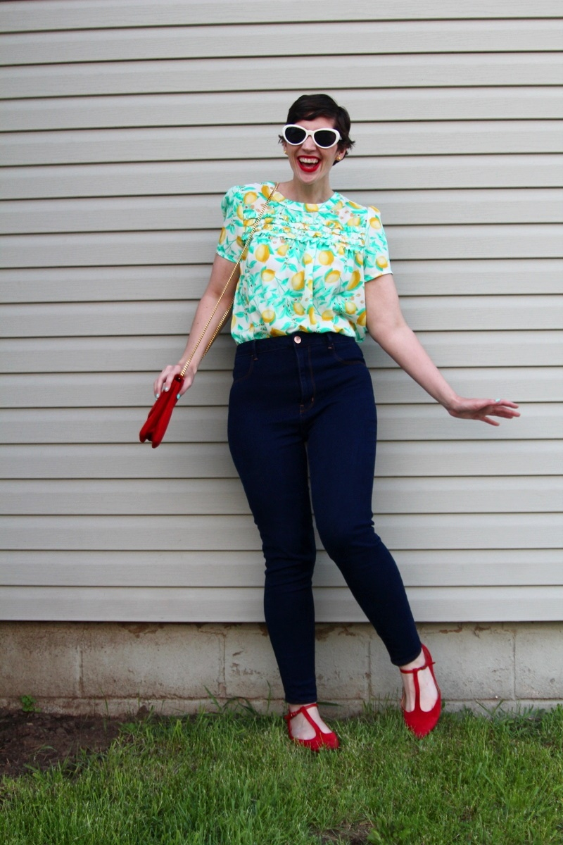 Looking Sweet In A Lemon Printed Blouse