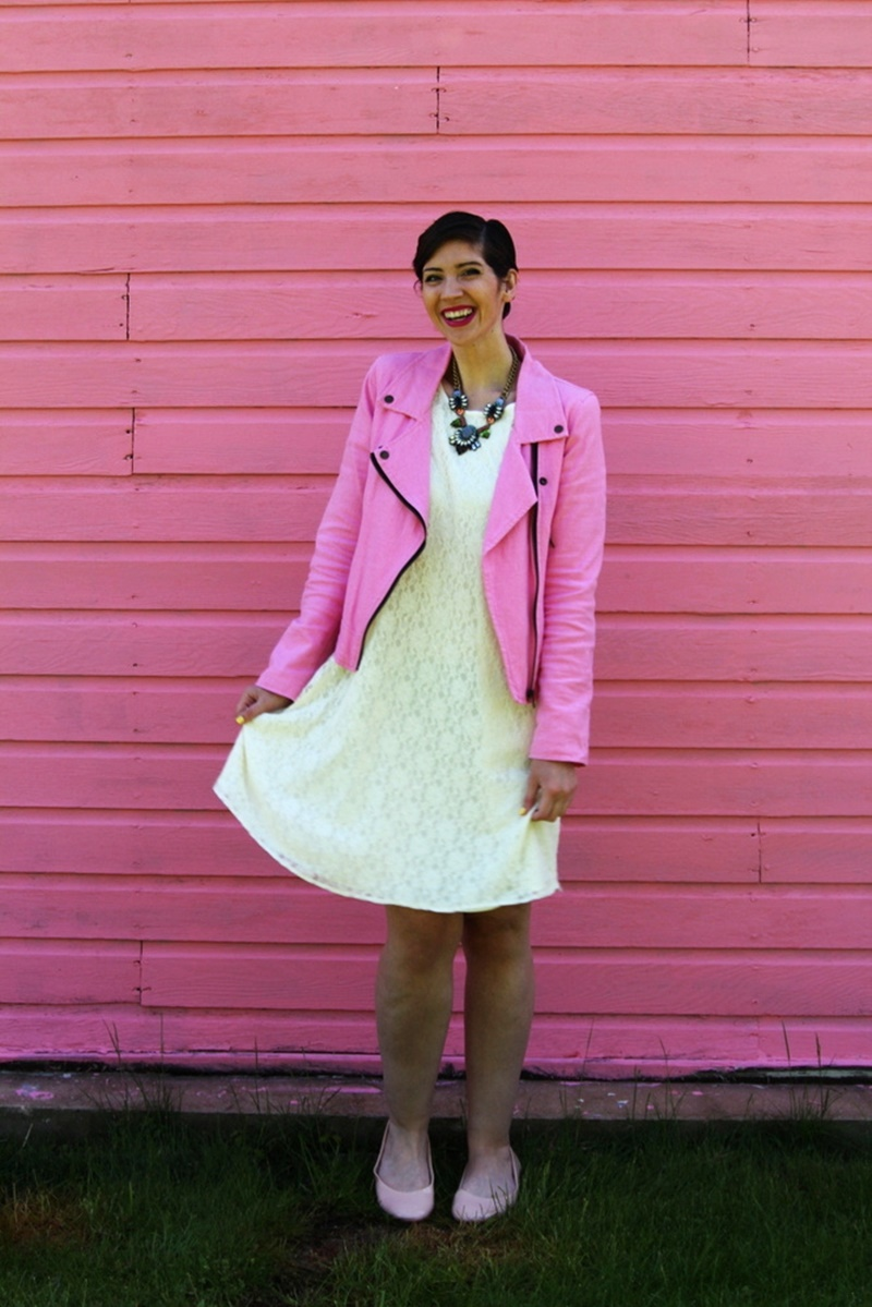 outfit thrifted white lace dress bridal, thredup pink moto jacket, poshmark nude flats, walmart statement necklace, ysl fuschia lipstick