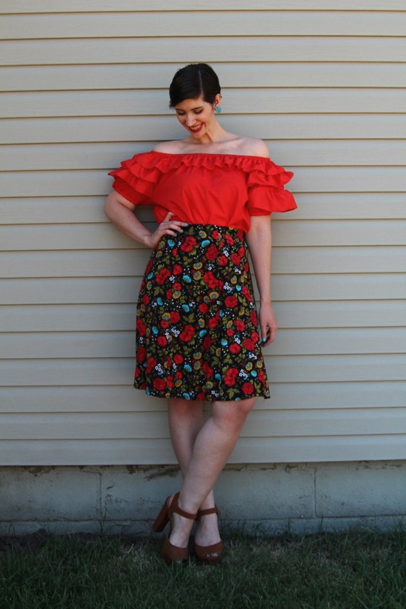 the outfit repeater hannah rupp fashion blog red off the shoulder blouse, floral skirt, thredup platform high heels, vintage blue flower clip on earrings, colourpop lippie stix bossy
