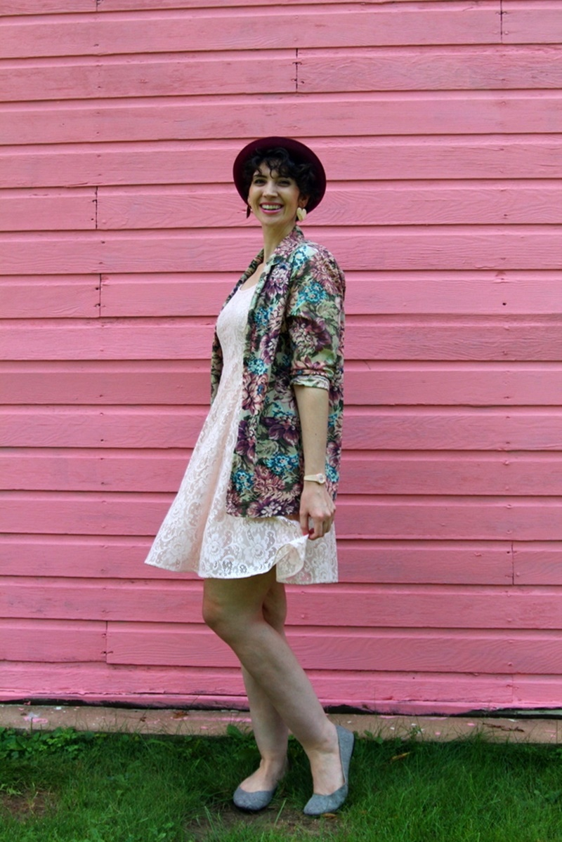 pretty in pink outfit movie lace dress, floral jacket, bowler hat, 1980s, vintage, thrifted, watch