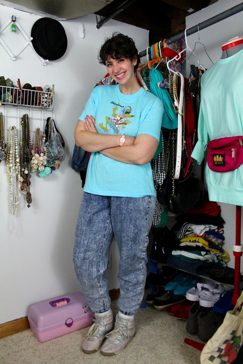 1980s casual outfit acid washed denim jeans, neon blue party animal t-shirt, back to the future sneakers, vintage closet, pink swatch watch, hannah rupp, the outfit repeater