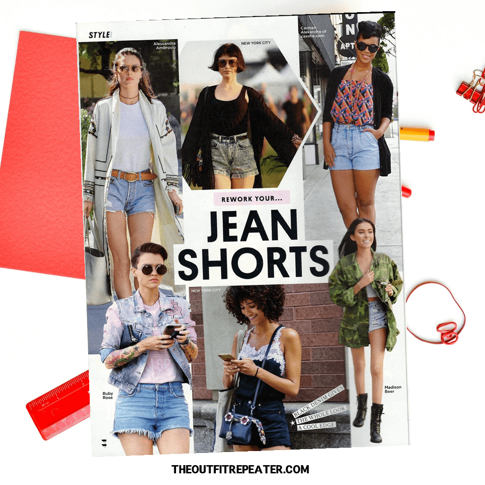 #thriftstylewatch summer fashion challenge, people style magazine inspired outfit, jean shorts summer trend