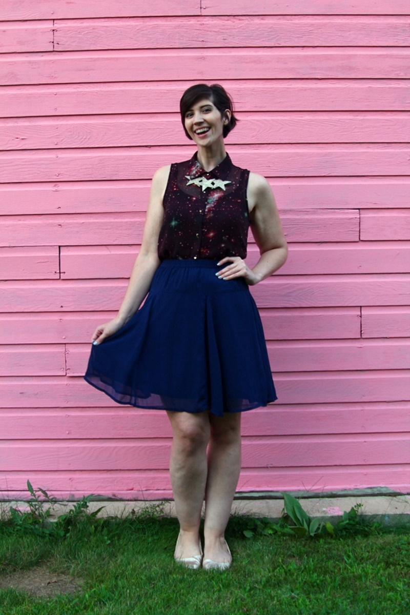 solar eclipse 2017 outfit Galaxy print shirt, navy blue skirt, gold glitter flats, DIY star statement necklace