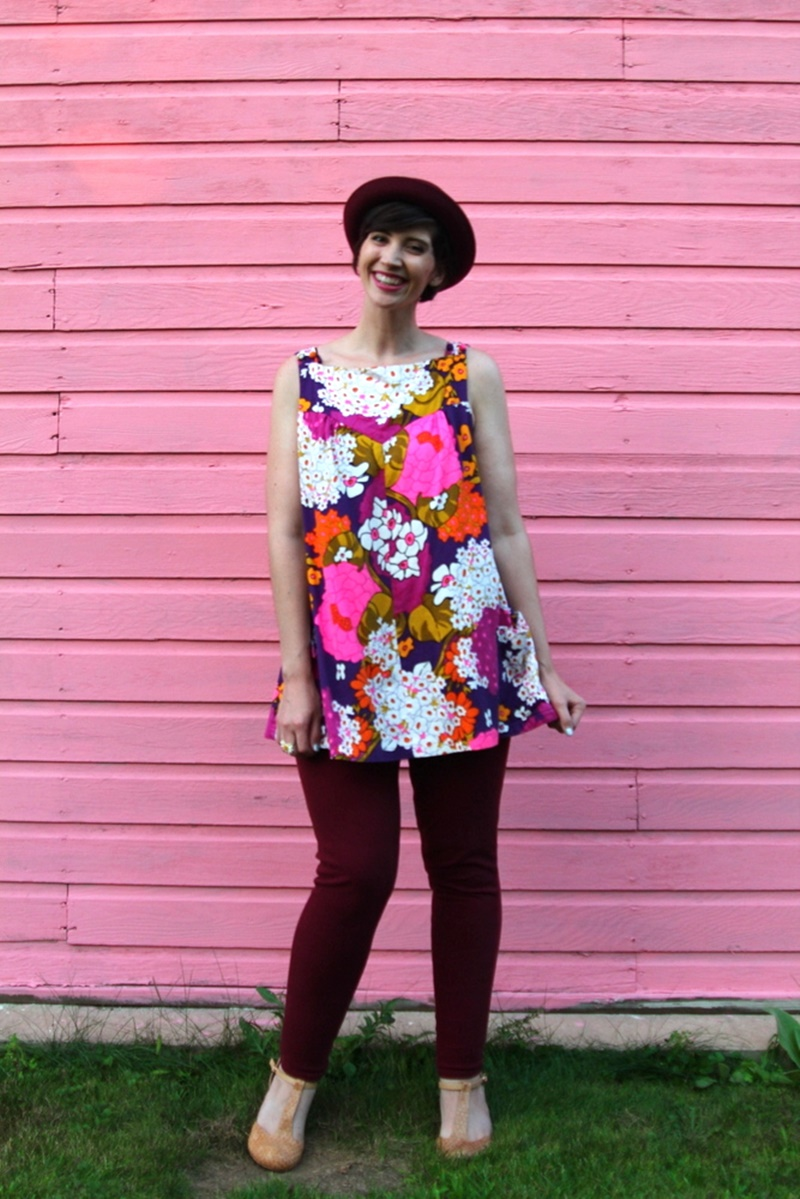 floral for fall outfit post vintage floral shift dress, maroon jeggings, purple bowler hat, nude t-strap high heels
