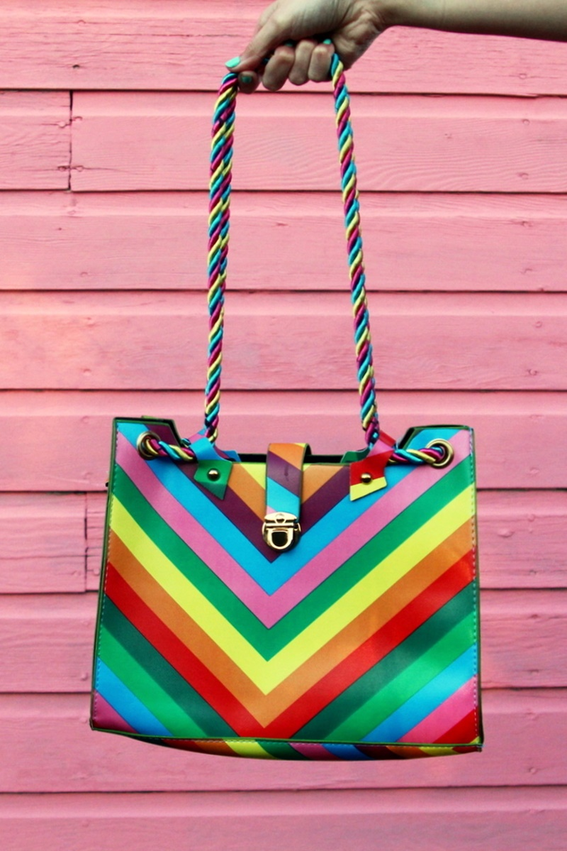 colorful outfit hannah rupp rainbow purse handbag thrifted secondhand shopping