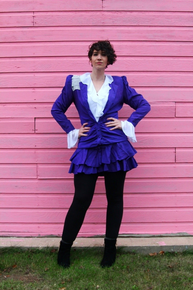 the outfit repeater hannah rupp prince halloween costume diy thrifted 1980s vintage retro idea inspired purple rockstar