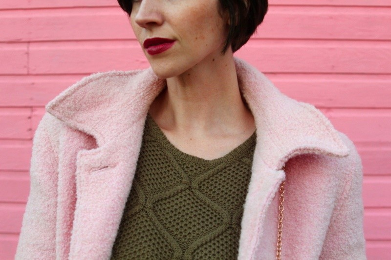 the outfit repeater hannah rupp vintage thrifted wearing pink for fall blush coat olive green sweater dress tan lace up flats Colourpop lipstick