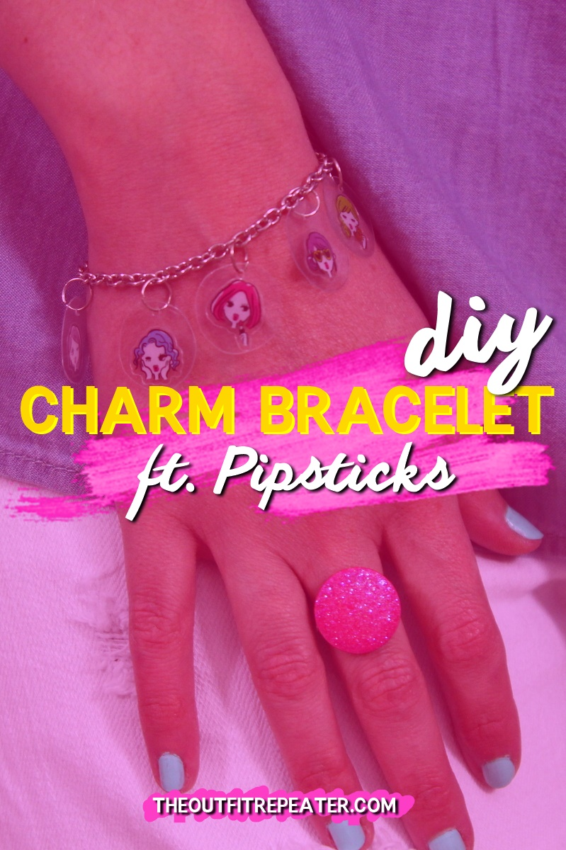 the outfit repeater hannah rupp diy charm bracelet 1980s girl gift present sticker pipsticks sponsored fashion blogger