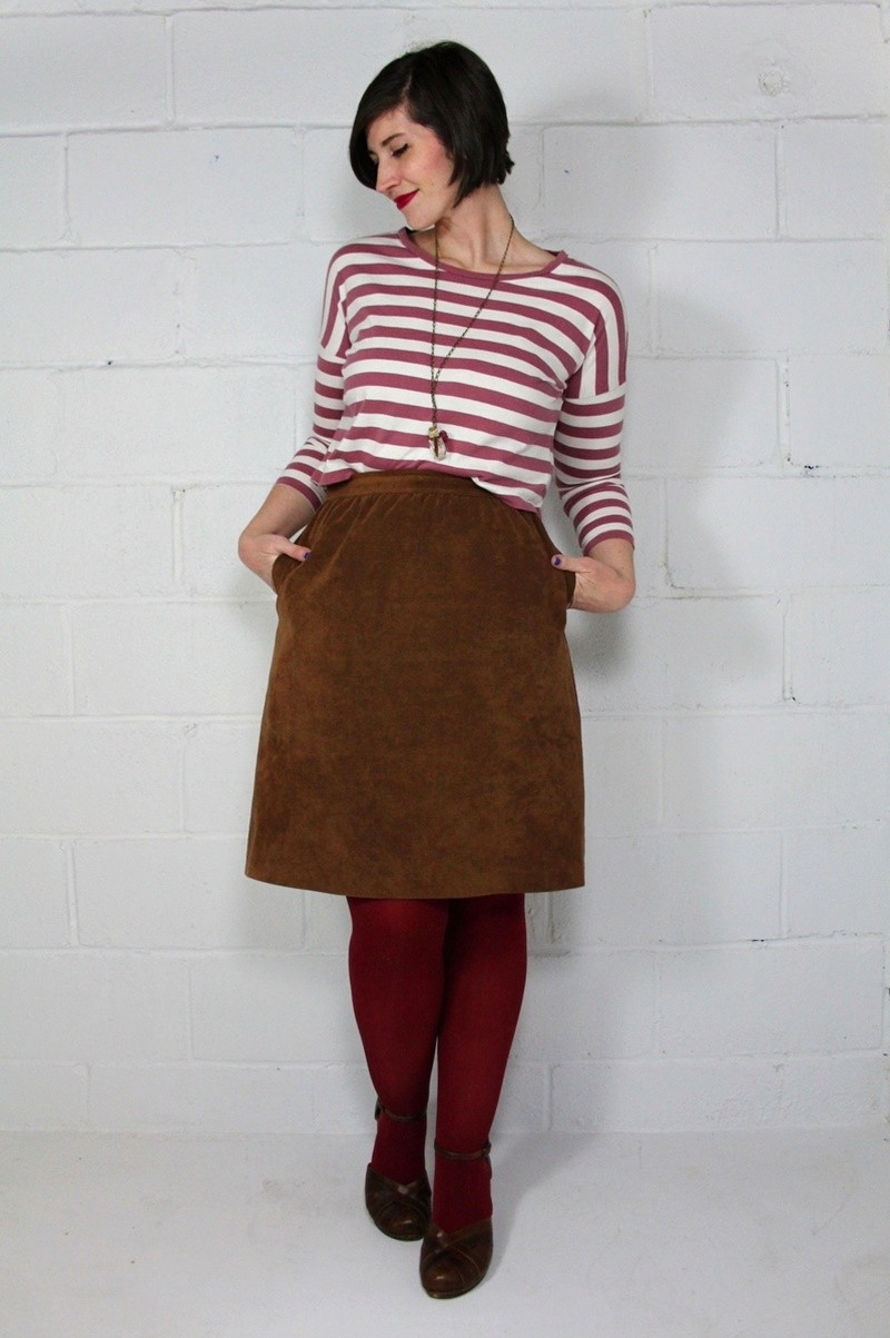 the outfit repeater hannah rupp thrifted all red outfit striped crop top suede skirt tights winter