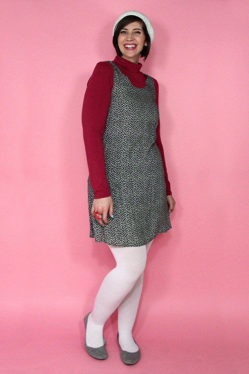 hannah rupp the outfit repeater summer dress in the winter mod thrifted white tights