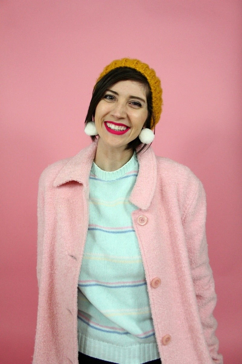 hannah rupp the outfit repeater winter wardrobe capsule challenge vintage sweater jeans yellow hat pink coat