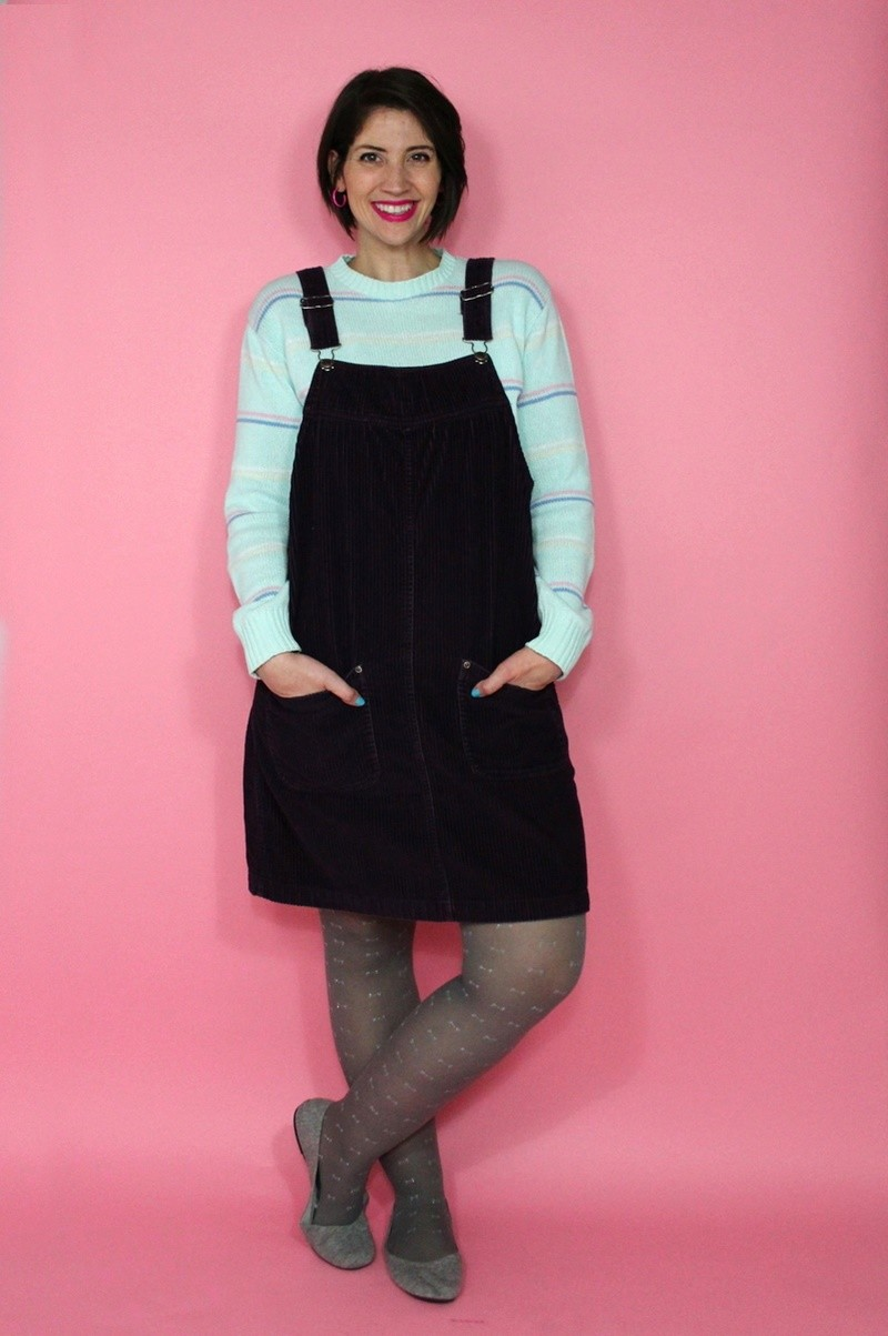 hannah rupp the outfit repeater winter capsule wardrobe challenge jumper dress corduroy overalls thrifted vintage sweater