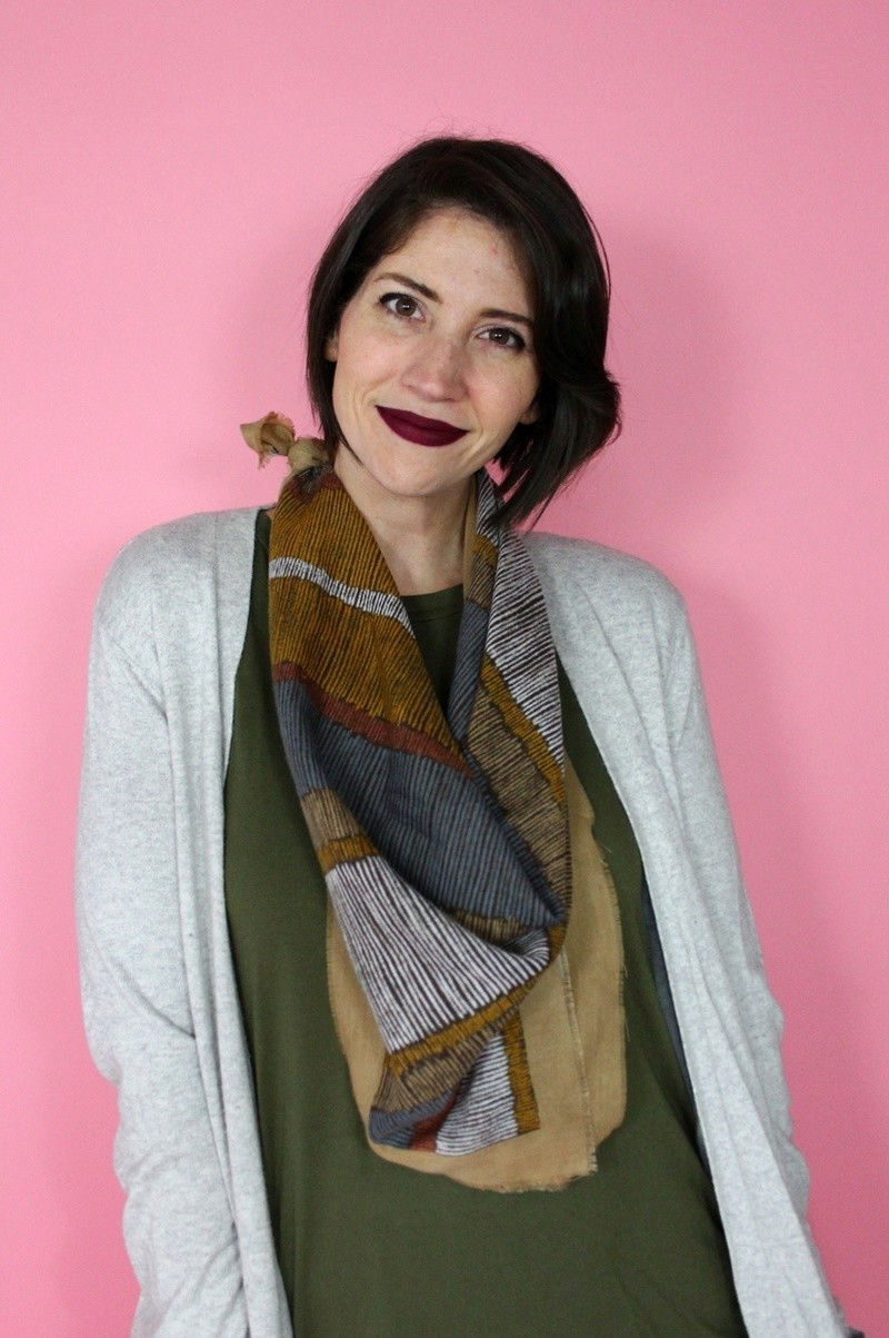 hannah rupp the outfit repeater capsule wardrobe challenge cool cardigan tobi long tall sally blue tights vintage scarf dark colourpop lipstick
