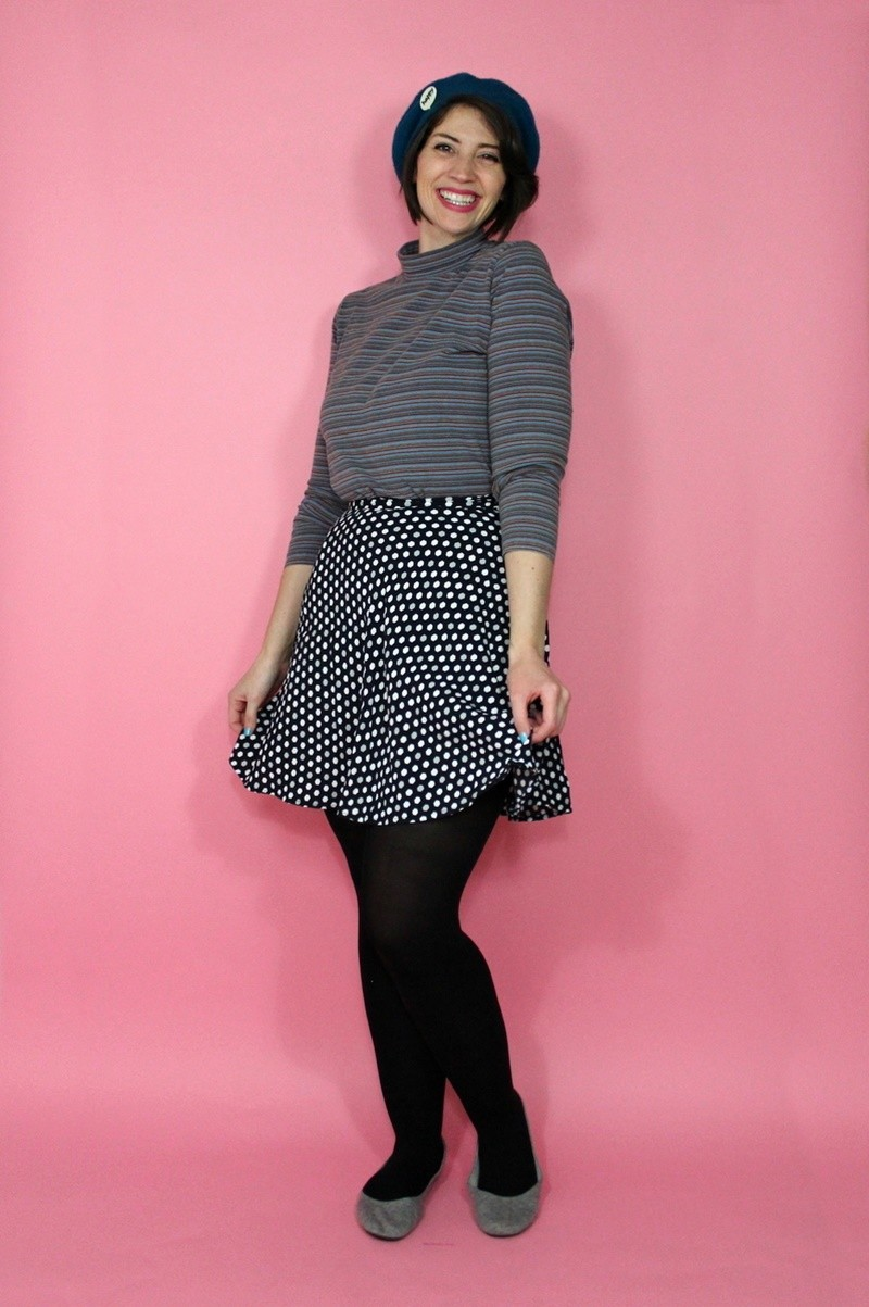 the outfit repeater hannah rupp winter capsule wardrobe challenge vintage thrifted beret skater skirt