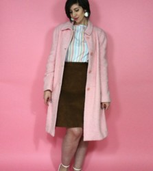 The Sweetest Outfit: Pastel Stripes & A Pink Vintage Coat