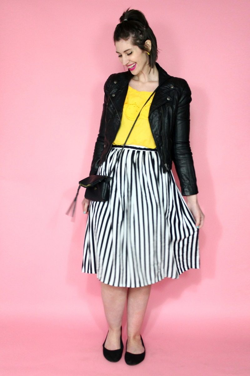 Vintage striped skirt, yellow blouse, moto jacket, black flats, Colourpop lippie stix, small thrifted purse