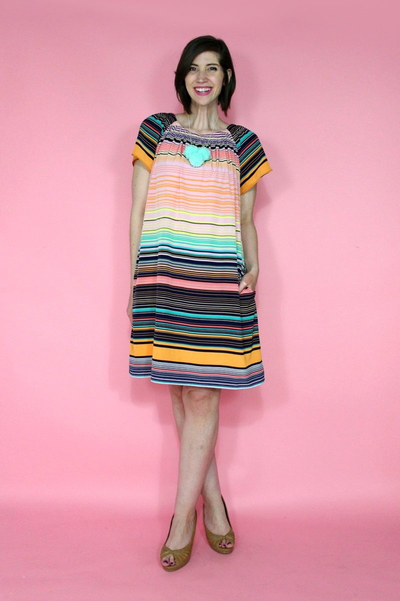 hannah rupp the outfit repeater thrift blog monroe public library program colorful striped dress