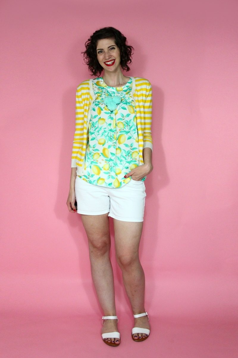 hannah rupp the outfit repeater lemon print blouse white denim short summer outfit