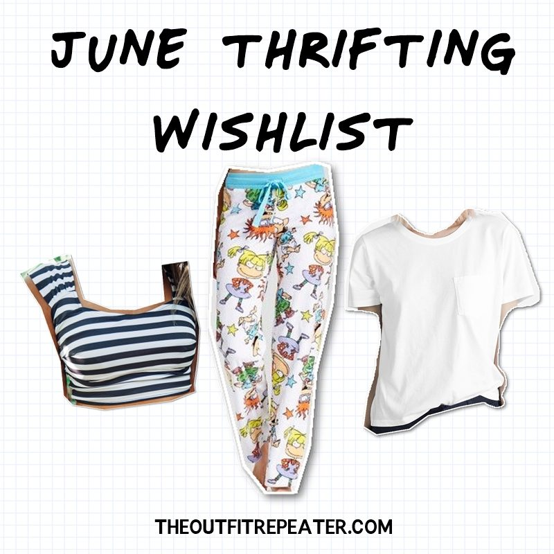 Mini May Thrift Haul + June Thrifting Wishlist hannah rupp the outfit repeater
