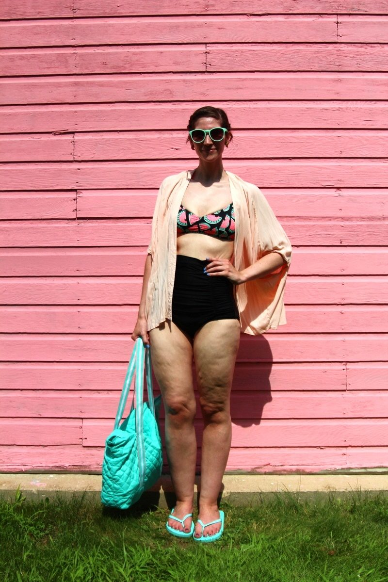 hannah rupp the outfit repeater thrifted swimsuit kimono beach pool cute summer