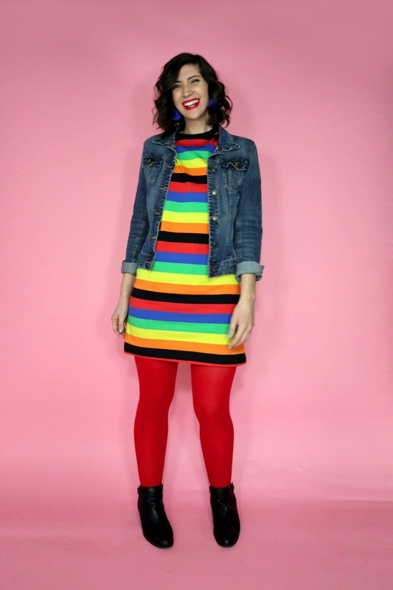 c0d17677f4c rainbow color outfit asos tshirt dress denim jacket red tights hannah rupp