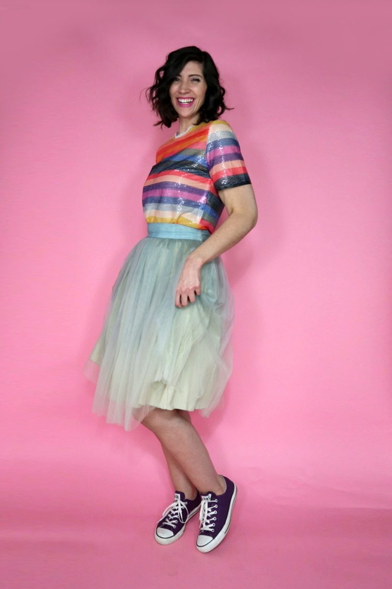 tulle skirt outfit holiday rainbow sequins hannah rupp christmas new years eve asos fashion blog
