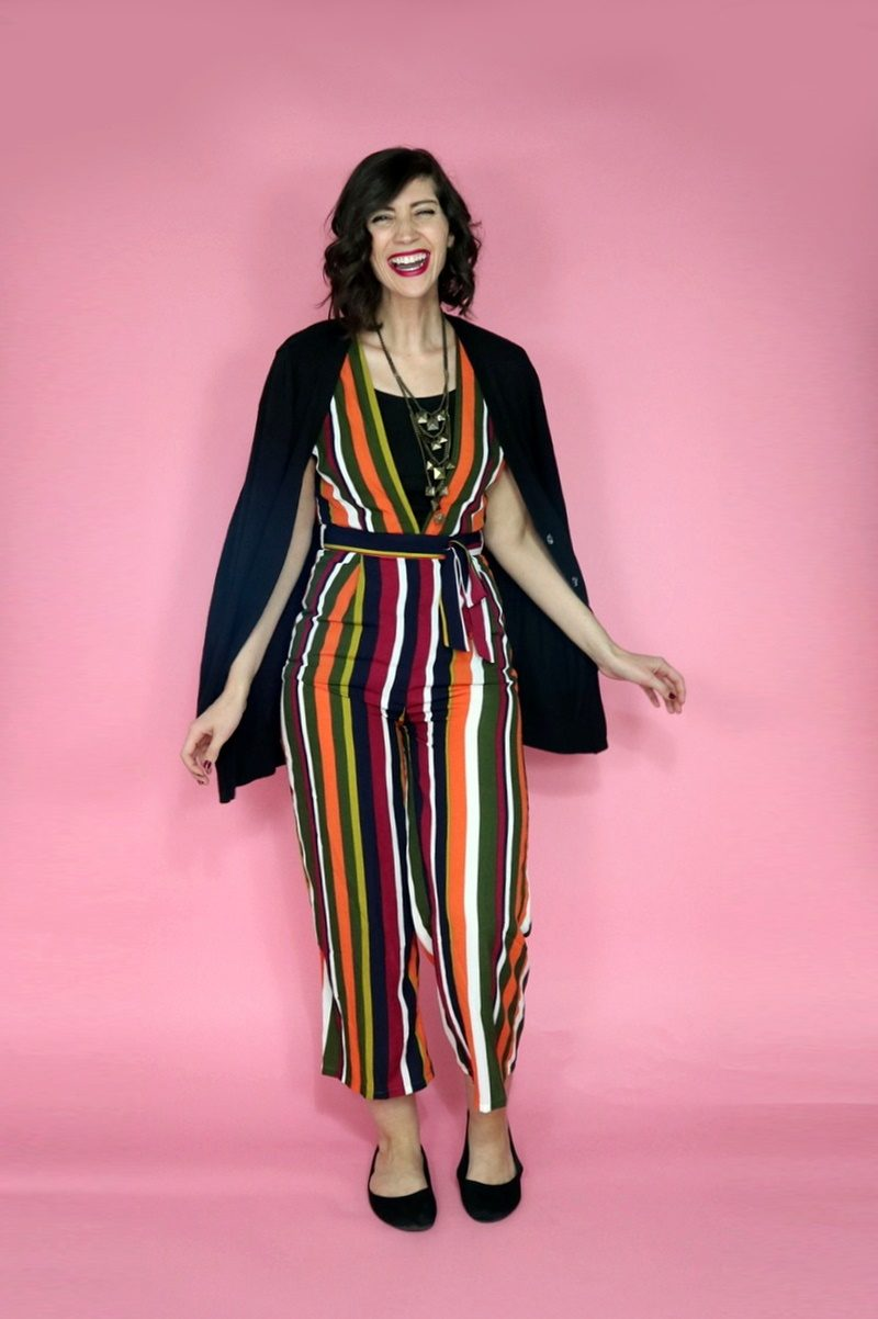fall jumpsuit outfit striped asos favorite shopping thanksgiving style thrifted hannah rupp repeater