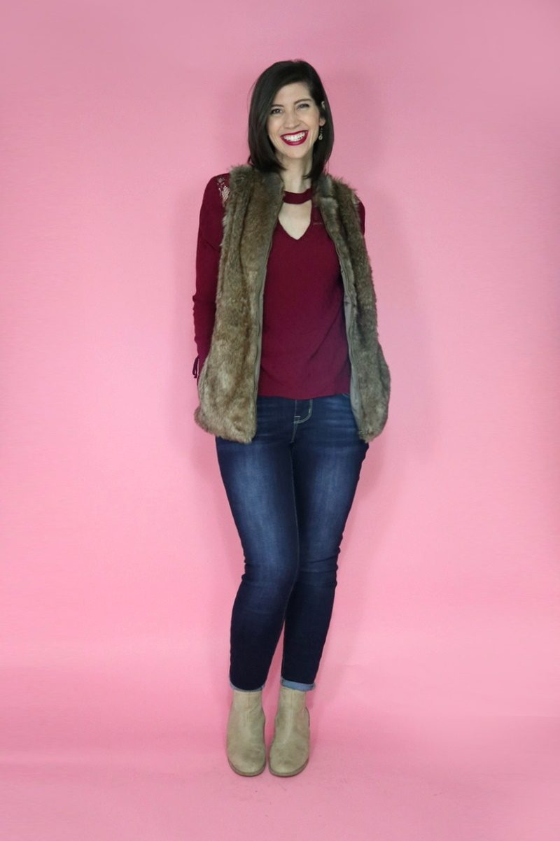3 Faux Fur Vest Outfit Ideas hannah rupp winter maurices