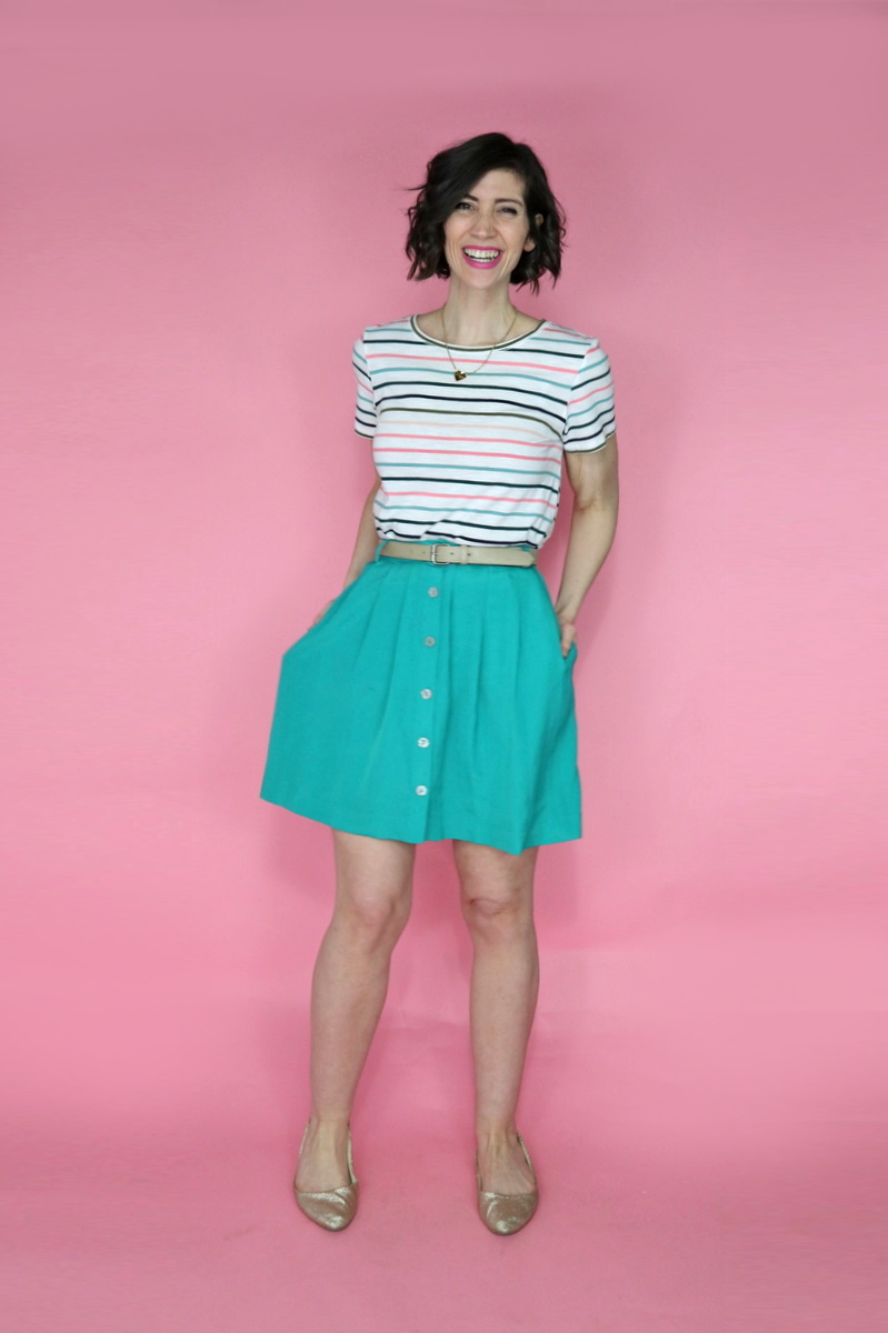 hannah rupp the outfit repeater colorful striped tee teal skirt thrifted from thredup